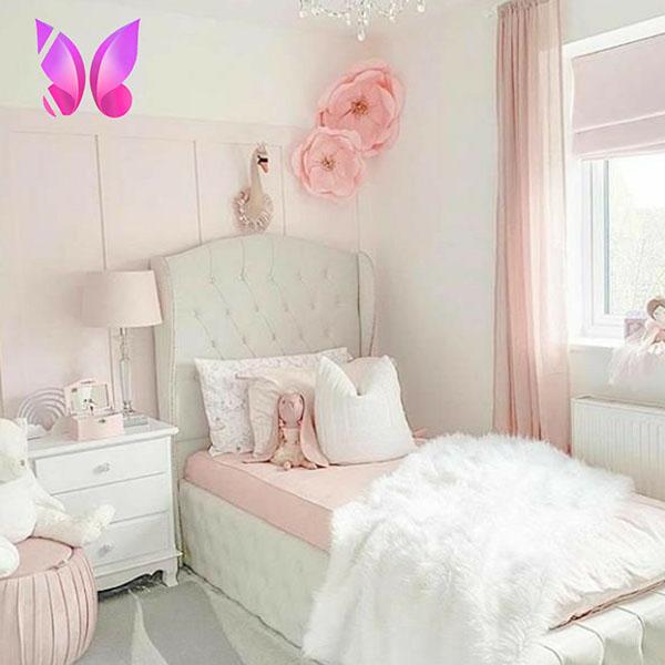مدل طراحی دکوراسیون داخلی اتاق نوجوان دخترانه سفید صورتی