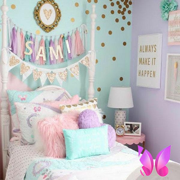 طراحی دکوراسیون اتاق نوجوان رنگ های شاد