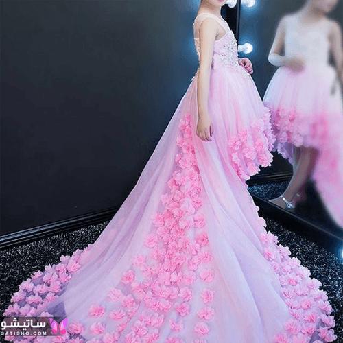 لباس عروس دنباله دار صورتی