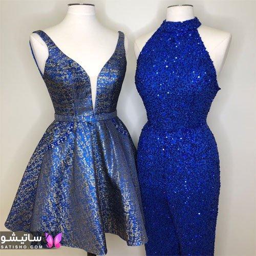 لباس مجلسی آبی کاربنی دخترانه شیک و جذاب