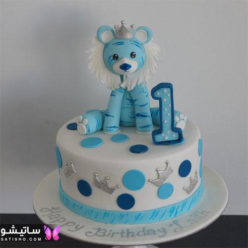 کیک تولد پـسرانه ساده یک سالگی