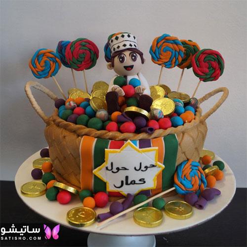 کیک تولد پـسرانه ساده شکلاتی