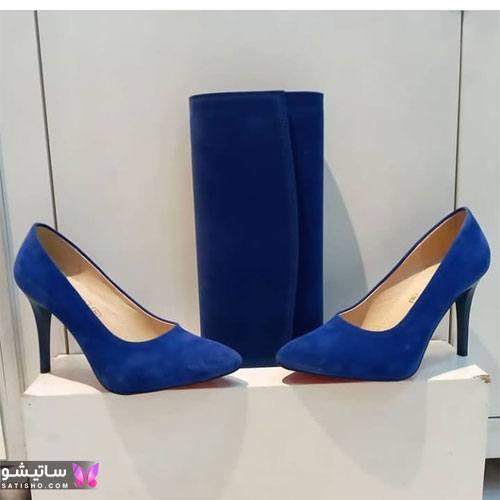 انواع مدل کفش زنانه جدید آبی رنگ