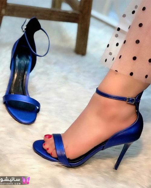 کفش دخترانه مجلسی پاشنه کوتاه آبی رنگ
