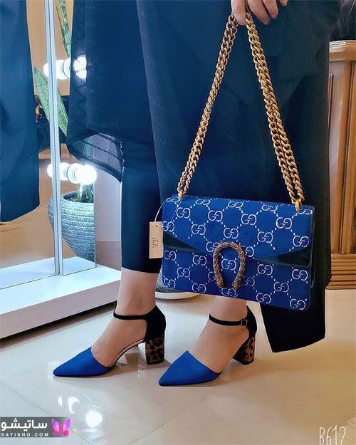 عکسهای کفش دخترانه مجلسی آبی رنگ