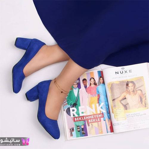 عکس کفش دخترانه اسپرت آبی رنگ