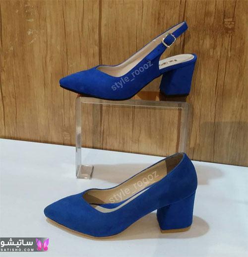 عکس کفش دخترانه مجلسی شیک آبی رنگ