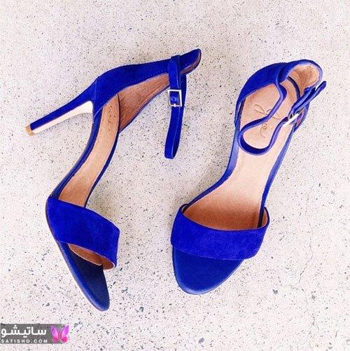 انواع کفشهای زنانه جدید آبی رنگ
