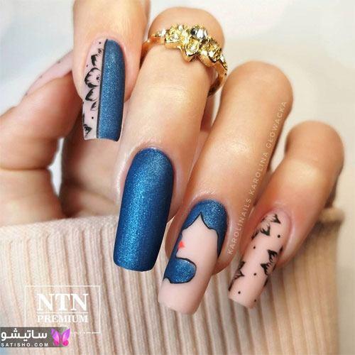 طراحی شیک ناخن دخترانه با لاک آبی رنگ