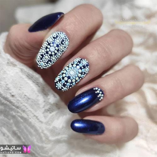 عکس لاک دخترانه رنگ آبی کاربنی با طرح زیبا