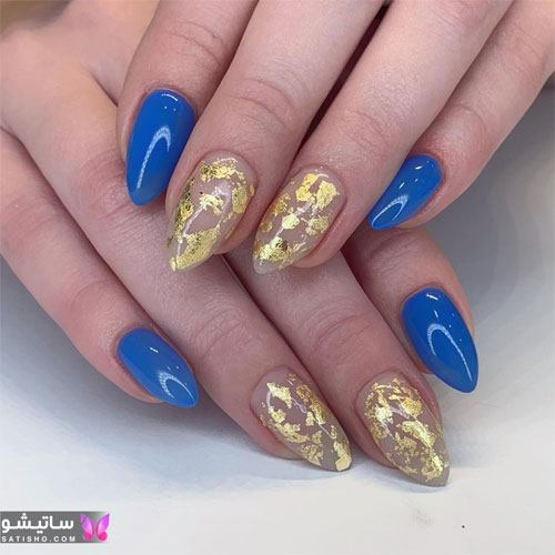 طراحی ساده و شیک ناخن با لاک آبی و طلایی
