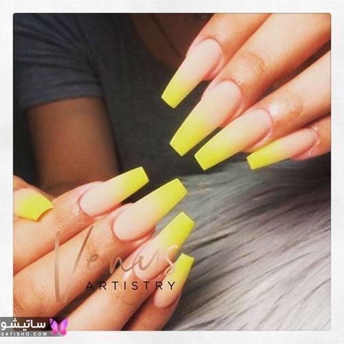 مدل طراحی ناخن بلند زردرنگ