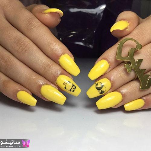 طراحی روی ناخن زرد