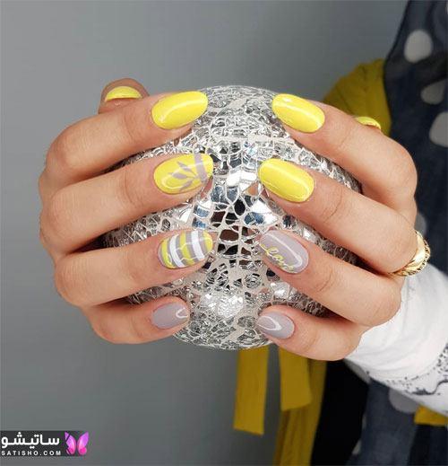 عکس دیزاین ناخن رنگ زرد طوسی
