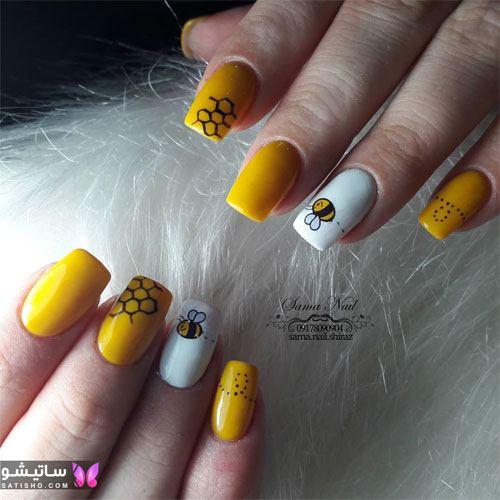 مدل طراحی ناخن دخترانه طرح زنبور