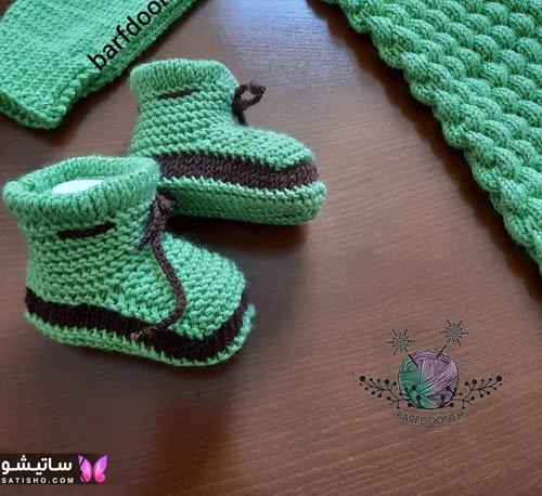 پاپوش نوزاد پسرانه سبز مشکی