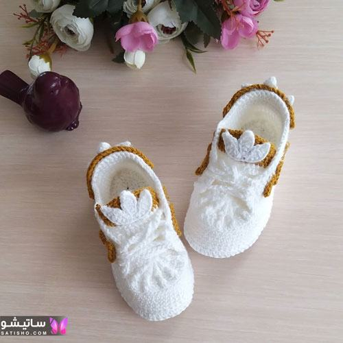 پاپوش نوزادی بافتنی دخترانه رنگ سفید