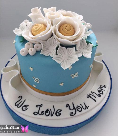 تزیین کیک تولد با گل و فوندانت