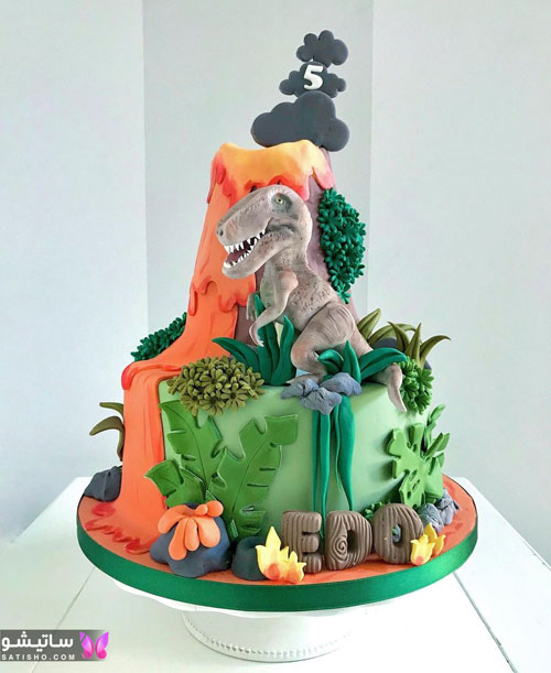 کیک تولد پسرانه حیوانات جنگل
