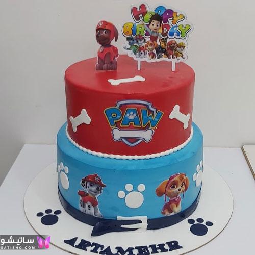 کیک تولد پسرانه کودکانه طرح سگ های نگهبان