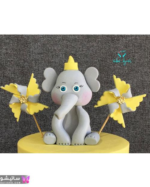 کیک تولد پسرانه شیک با تاپر فیل