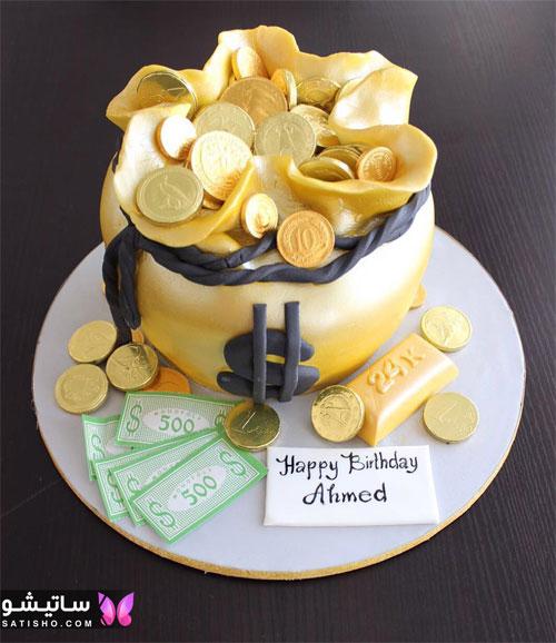 کیک تولد پسرانه لاکچری با تزیین فوندانت