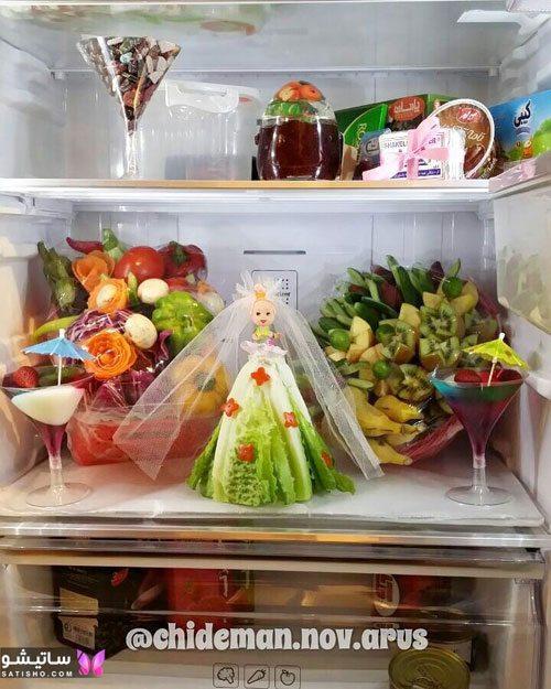 tazeen yakhchal aroos satisho 23 - تزیین یخچال عروس | شیک تری چیدمان یخچال فریزر عروس 1400