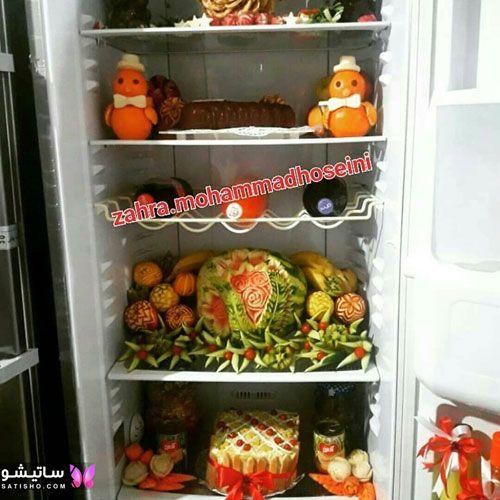 tazeen yakhchal aroos satisho 31 - تزیین یخچال عروس | شیک تری چیدمان یخچال فریزر عروس 1400