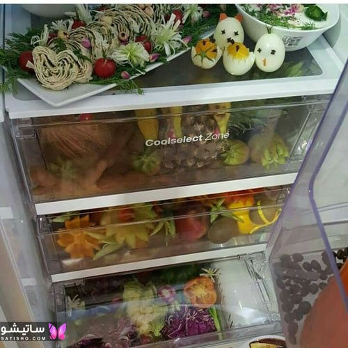 tazeen yakhchal aroos satisho 33 - تزیین یخچال عروس | شیک تری چیدمان یخچال فریزر عروس 1400