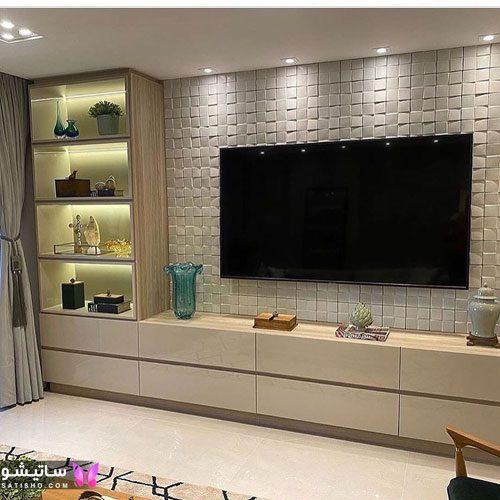 تزیین دیوار پشت تلویزیون با کاغذ دیواری