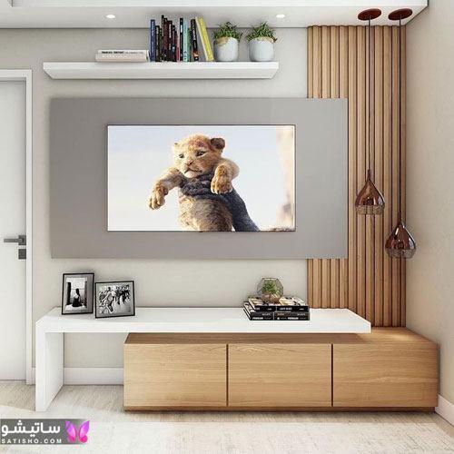 دکوراسیون دیوار پشت تلویزیون با چوب