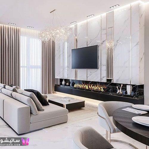 دیزاین دیوار پشت تلویزیون با سنگ