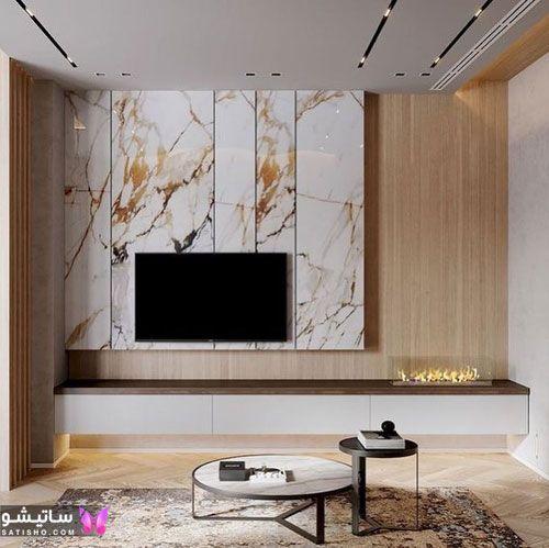 شیک ترین مدل های تزیین دیوار پشت تلویزیون با سنگ مرمر