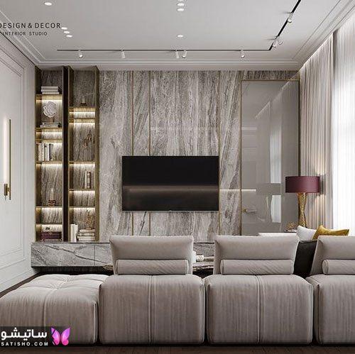 دیزاین دیوار پشت تلویزیون شیک و مدرن