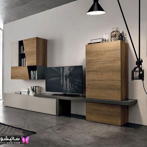 دیزاین دیوار پشت تلویزیون با کاغذ دیواری طرح سنگ