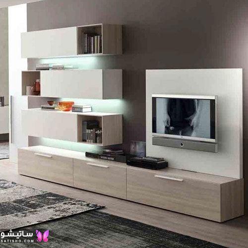 طراحی دیوار تلویزیون با سنگ و چوب جدید و زیبا