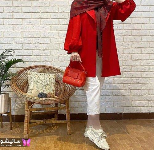 manto ghermez satisho 37 - جدیدترین مدل مانتو قرمز اسپرت | مانتو قرمز کوتاه دخترانه 2022