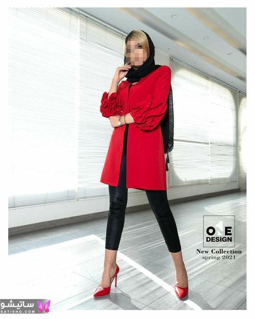 manto ghermez satisho 43 - جدیدترین مدل مانتو قرمز اسپرت | مانتو قرمز کوتاه دخترانه 2022