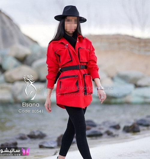 manto ghermez satisho 46 - جدیدترین مدل مانتو قرمز اسپرت | مانتو قرمز کوتاه دخترانه 2022