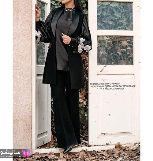 مدل مانتو مشکی مجلسی جلو باز دکمه مخفی زنانه بلند
