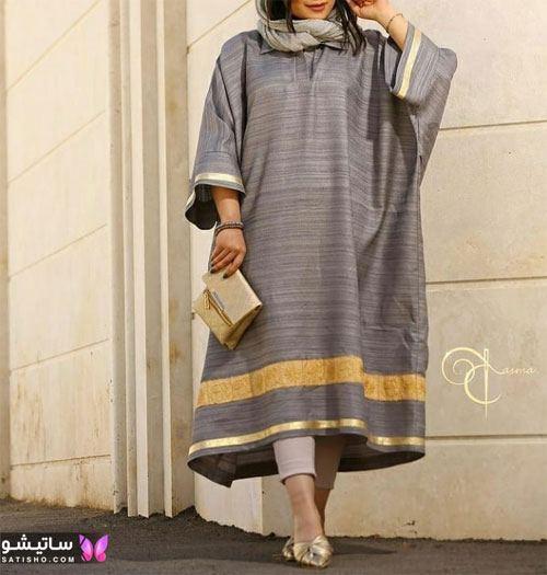 جدیدترین مدلهای مانتو بلند دخترانه با رنگ طوسی و زرد