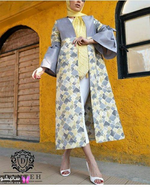 مدل مانتو طوسی زرد رنگ سال جدید