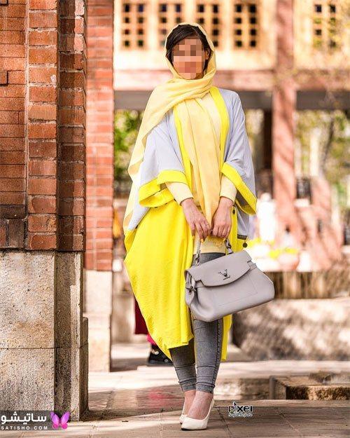 مدل مانتو ترکیبی رنگ زرد و خاکستری