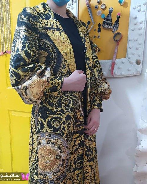مدلهای شیک مانتو ترکیبی مشکی طلایی