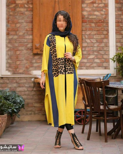 عکس مانتو ترکیبی بلند زرد و پلنگی