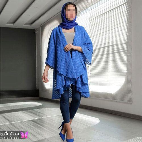 مانتو مجلسی ترکیبی رنگ آبی