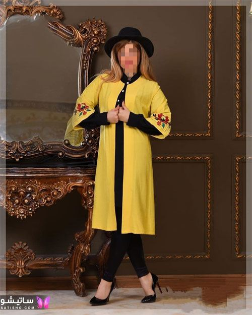 مدل مانتو زرد خردلی جدید