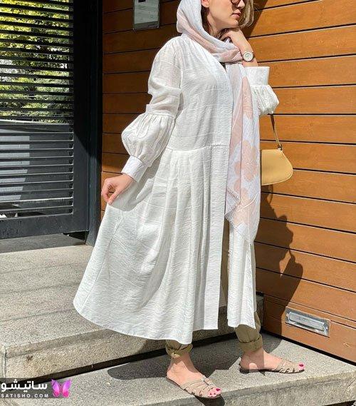 جدیدترین استایل با مانتو سفید خوشگل