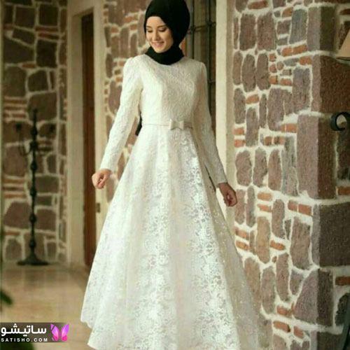 مدل لباس مجلسی پوشیده سفید برای عقد