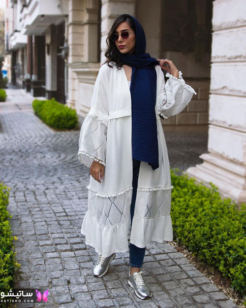 manto sefid satisho 28 - مدل مانتو سفید در طرح های اسپرت تابستانی و مجلسی زنانه 1400